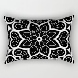 Black and White Flower Hearts Rectangular Pillow