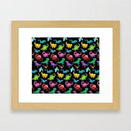 Rainbow dinosaurs Framed Art Print
