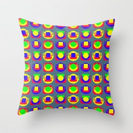 Primary Colors and Basic Shapes, Silver Gray Background Throw Pillow
