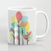 gray Mugs featuring Tropical Groove (gray) by Picomodi