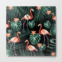 Tropical Flamingo Floral Night Pattern #1 #tropical #decor #art #society6 Metal Print
