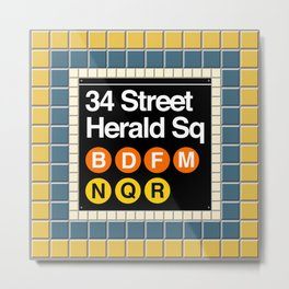 subway herald square sign Metal Print