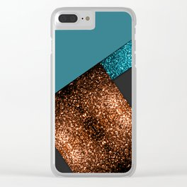 Aqua blue and bronze sparkles modern color block art Clear iPhone Case