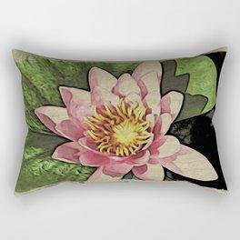 Lotus Flower Woodblock style Rectangular Pillow
