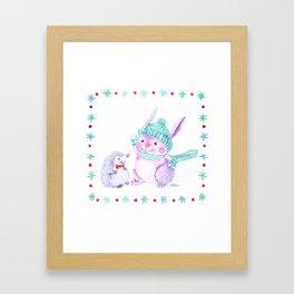 Rabbit and Hedgehog Framed Art Print
