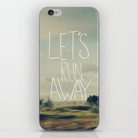 backpack iPhone & iPod Skins featuring Let's Run Away by Leah Flores