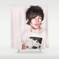 louis tomlinson Shower Curtains featuring soft louis by skye