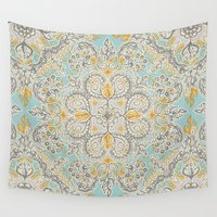 bedding Wall Tapestries featuring Gypsy Floral in Soft Neutrals, Grey & Yellow on Sage by micklyn