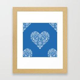 Azure Strong Blue Heart Lace Flowers Framed Art Print