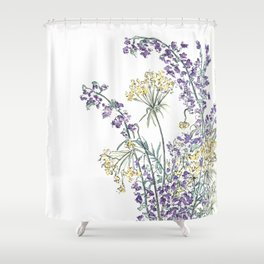 Wild Flowers Ink and Watercolor  Shower Curtain