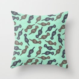 Happy Cute Otters Throw Pillow