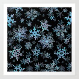 """""""Embroidered"""" Snowflakes Art Print"""