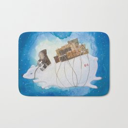 Big Polar Bear delivers gift packages like a Courier - Painting by Lisa Rotenberg Bath Mat