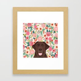 Chocolate Lab floral dog head cute labrador retriever must have pure breed dog gifts Framed Art Print