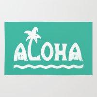 aloha Area & Throw Rugs featuring Aloha! by Dylan Morang