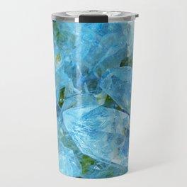 Aqua Blue Geode Crystal Travel Mug