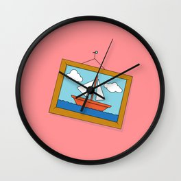 Scene from Moby Dick on pink Wall Clock