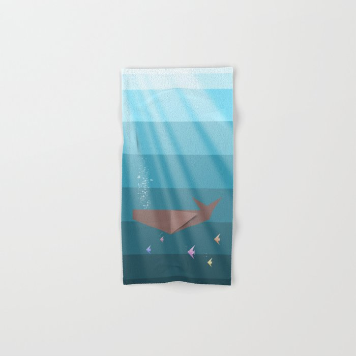 LIVING SEA (origami animals whales) Hand & Bath Towel