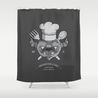 chef Shower Curtains featuring MONSTER CHEF by MostrOpi