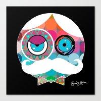 psychadelic Canvas Prints featuring Mr. Mustache Man Psychadelic by Gabriel J Galvan
