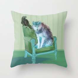 animals in chars #3 The Wolf and the Raven Throw Pillow