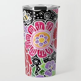Folk Art Flowers Travel Mug