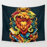 slytherin Wall Tapestries featuring Harry Potter : Hogwarts Houses by anggatantama