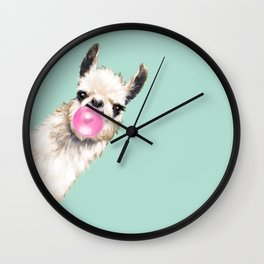 Bubble Gum Sneaky Llama in Green Wall Clock