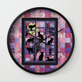 Night Cats on Patchwork Wall Clock