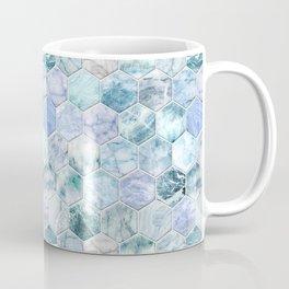 Ice Blue and Jade Stone and Marble Hexagon Tiles Coffee Mug
