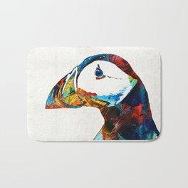 Colorful Puffin Art By Sharon Cummings Bath Mat