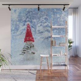Red Cute Snowman frozen freeze Wall Mural