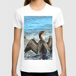 Cormorant Dries off in front of the Sea T-shirt