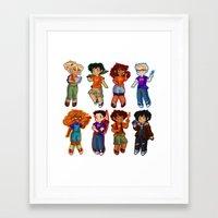 percy jackson Framed Art Prints featuring Chibis V2  by chubunu