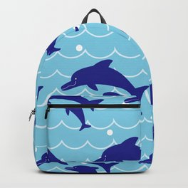 Parent-child of dolphin on the Sea Wave_F Backpack