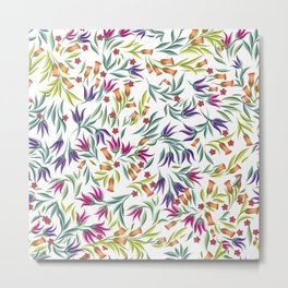 Seamless pattern with different wild flowers Metal Print