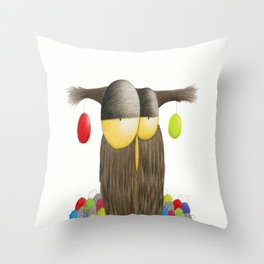 Cute Holiday Owl Illustration Throw Pillow