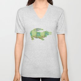 Alligator Crocodile Vintage Floral Pattern Green Teal Mint Blue Unisex V-Neck