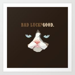 Grumpy Bad Luck Cat Art Print