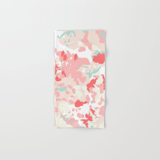 Kelsie - cute abstract minimal pink blush painterly dorm college office trendy decor Hand & Bath Towel