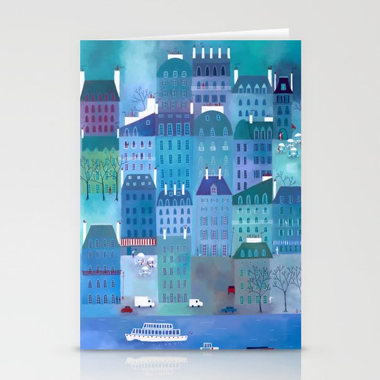 Paris Blues Stationery Cards