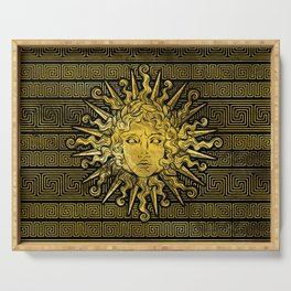 Apollo Sun Symbol on Greek Key Pattern Serving Tray