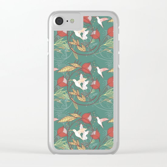 hummingbirds pattern Clear iPhone Case