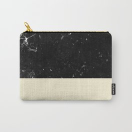 Light Blush Yellow Meets Black Marble #1 #decor #art #society6 Carry-All Pouch