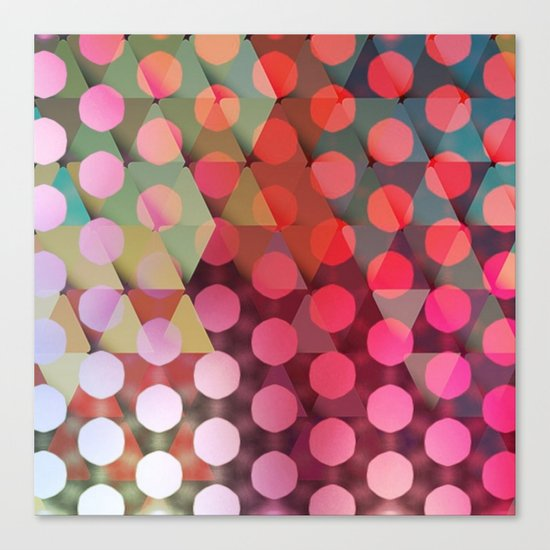 Circles on Triangles Pink Canvas Print