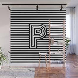 Track - Letter P - Black and White Wall Mural