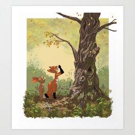 Fox and Bunny Art Print