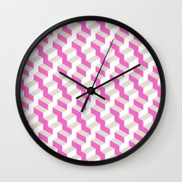 Pink and White Pattern with Grey Fractal Art Wall Clock