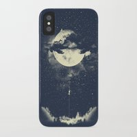 night iPhone & iPod Cases featuring MOON CLIMBING by los tomatos
