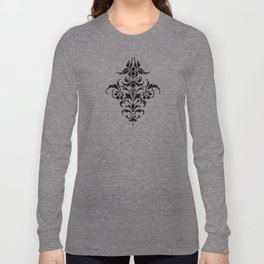 Damask Pattern | Black and White Long Sleeve T-shirt